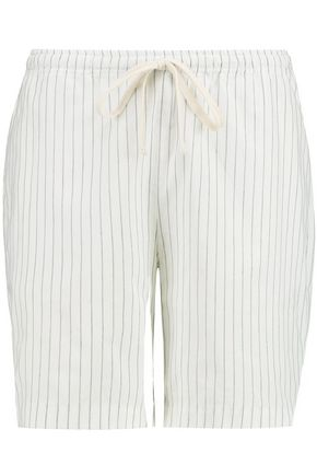 TOTÊME Kruger striped cotton and linen-blend shorts