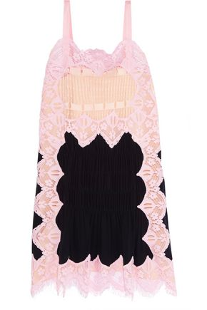 CHLOÉ Crochet-paneled lace and crepe de chine dress
