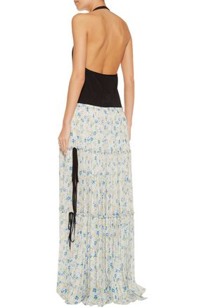 CHLOÉ Halterneck stretch-knit and printed plissé chiffon maxi dress