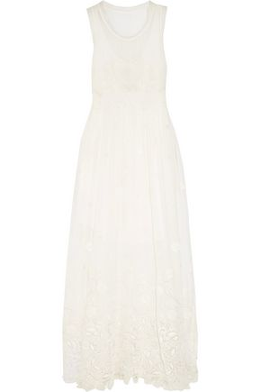 CHLOÉ Guipure lace-trimmed silk-georgette maxi dress
