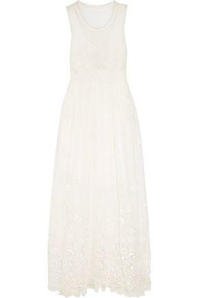 CHLOÉ Guipure lace-trimmed silk-georgette maxi dress