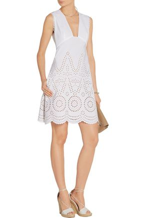 STELLA McCARTNEY Aline broderie anglaise cotton mini dress