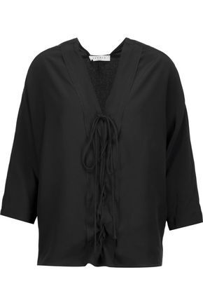 SANDRO Effy lace-up silk-crepe top