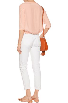 MAJE Ribbed-knit trimmed muslin top