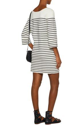 MAJE Montorgue lace-up striped knitted mini dress