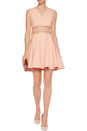 MAJE Embroidered mesh-trimmed crepe mini dress