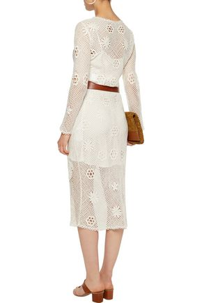 MAJE Crochet-knit cotton midi dress