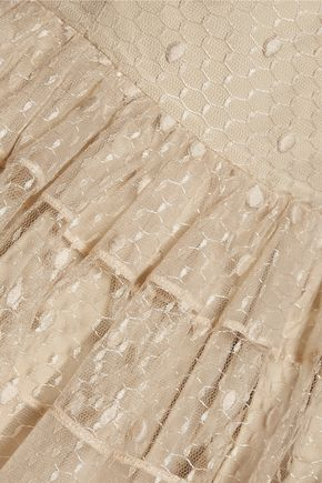 REDValentino Pleated Swiss-dot tulle mini dress