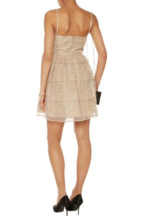 REDValentino Pleated Swiss-dot tulle mini dress