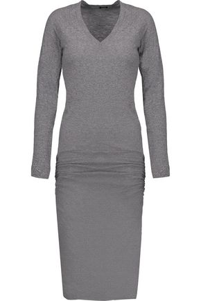 MONROW Gathered slub stretch-jersey midi dress