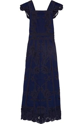 VALENTINO Open-back embroidered denim gown