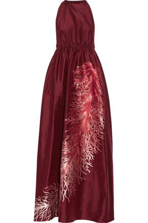 VALENTINO Embroidered silk-faille gown