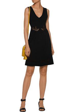 SANDRO Ruma lace-paneled stretch-knit mini dress