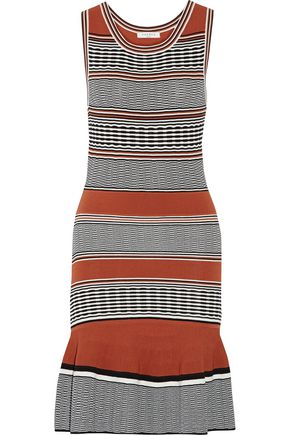 SANDRO Striped stretch-knit mini dress