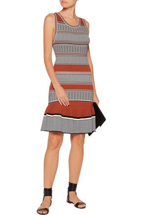 SANDRO Striped stretch-knit mini dress