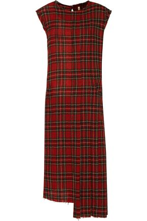 R13 Asymmetric pleated wool-flannel dress