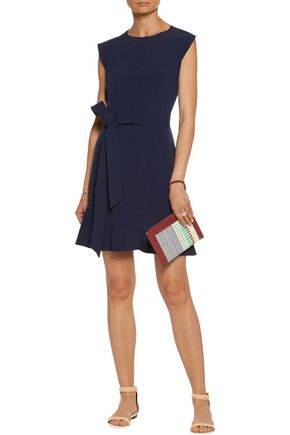 SANDRO Belted cutout crepe mini dress