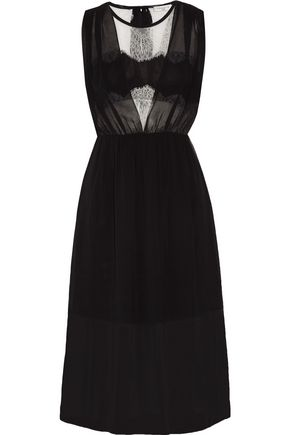 SANDRO Rules lace-paneled crepe de chine midi dress