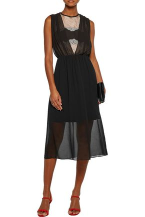 SANDRO Rules lace-paneled crepe de chine midi dress