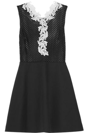 SANDRO Rama guipure lace-trimmed open-knit and cotton-blend mini dress