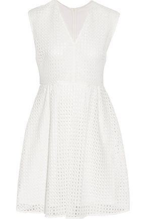 SANDRO Royale paneled broderie angalise and chiffon mini dress