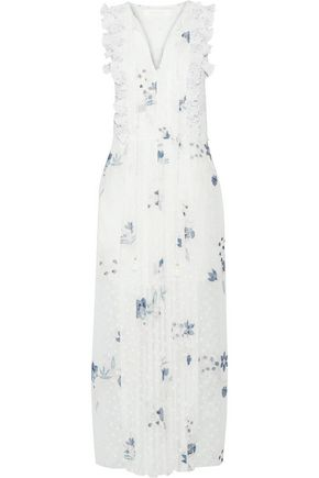 SEE BY CHLOÉ Ruffle-trimmed printed fil coupé maxi dress