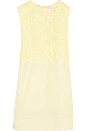 SEE BY CHLOÉ Macramé lace-paneled cotton-poplin mini dress