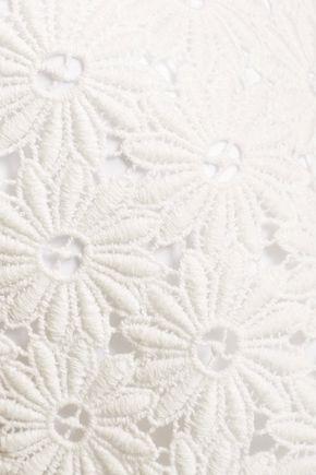 SEE BY CHLOÉ Guipure lace-paneled cotton-poplin mini dress