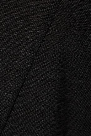 SANDRO Terry cutout silk crepe de chine-paneled linen-jersey top