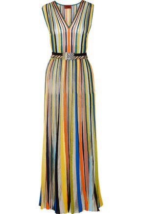 MISSONI Pleated striped crochet-knit maxi dress