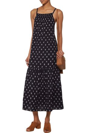 CURRENT/ELLIOTT Holly smocked embroidered cotton midi dress
