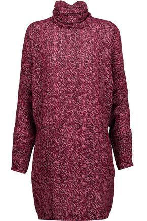 McQ Alexander McQueen Printed crepe de chine turtleneck mini dress