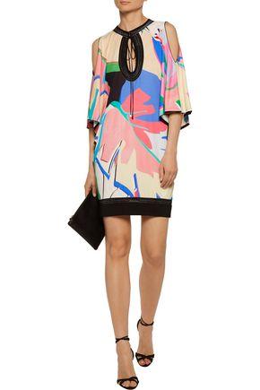 ROBERTO CAVALLI Cold-shoulder metallic printed crepe de chine mini dress
