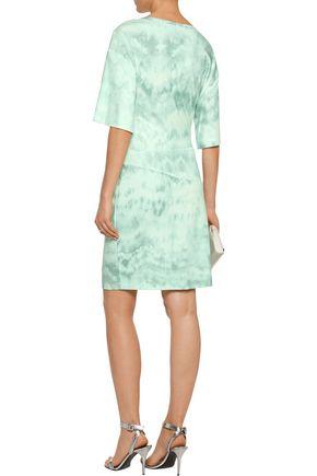 ROBERTO CAVALLI Gathered printed stretch-crepe mini dress