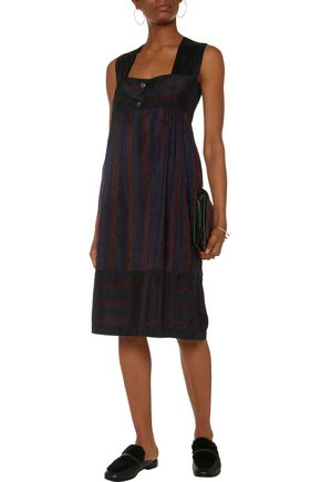 MAISON KITSUNÉ Betty striped matte-taffeta dress