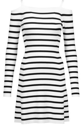 THEORY Pirellia cold-shoulder striped ribbed-knit mini dress