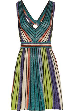 M MISSONI Twist-back metallic crochet-knit mini dress