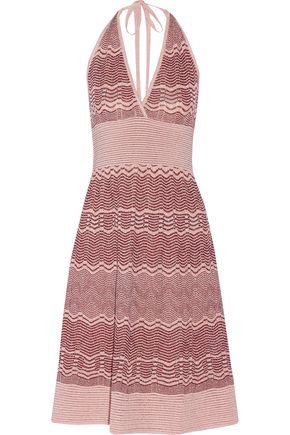 M MISSONI Metallic crochet-knit halterneck dress