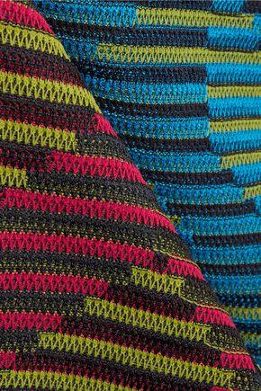 M MISSONI Paneled crochet-knit wool-blend mini dress