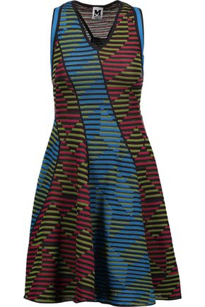 M MISSONI Paneled crochet-knit wool-blend mini dress