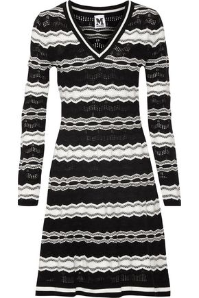 M MISSONI Open knit-trimmed intarsia-knit dress