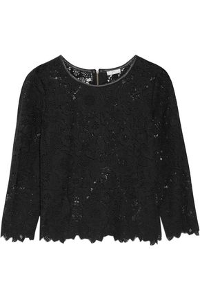JOIE Antonia scalloped guipure lace top