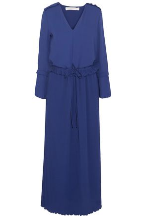 SEE BY CHLOÉ Plissé-paneled crepe de chine maxi dress