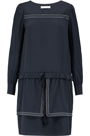 SEE BY CHLOÉ Embroidered silk crepe de chine mini dress