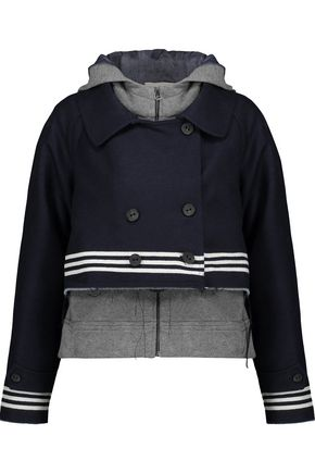 SEA Cotton-jersey layered frayed wool-blend felt jacket