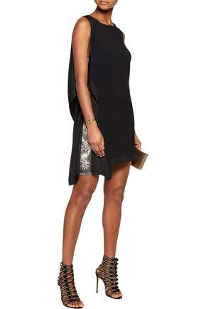 ROBERTO CAVALLI Satin-trimmed draped embellished crepe mini dress