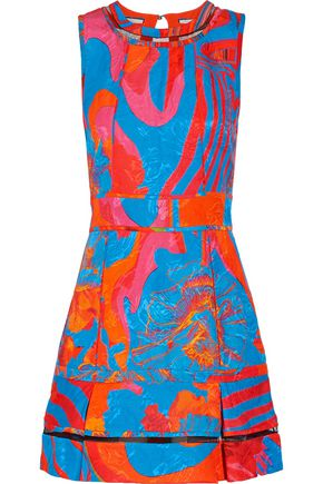 ROBERTO CAVALLI Tulle-trimmed printed cotton and silk-blend mini dress