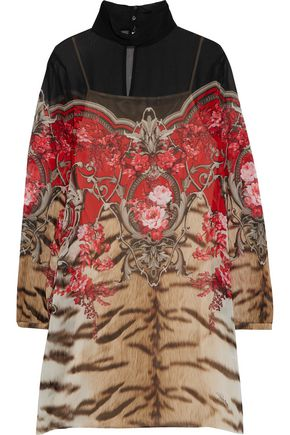 ROBERTO CAVALLI Printed silk-chiffon turtleneck mini dress