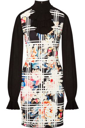 ROBERTO CAVALLI Ruffled paneled stretch-knit and printed crepe mini dress