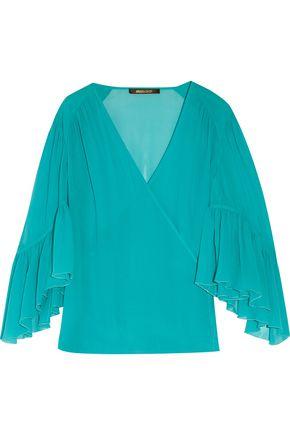 ROBERTO CAVALLI Ruffled silk crepe de chine wrap blouse